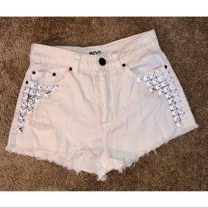 BDG High Rise White Distressed Denim Jean Shorts